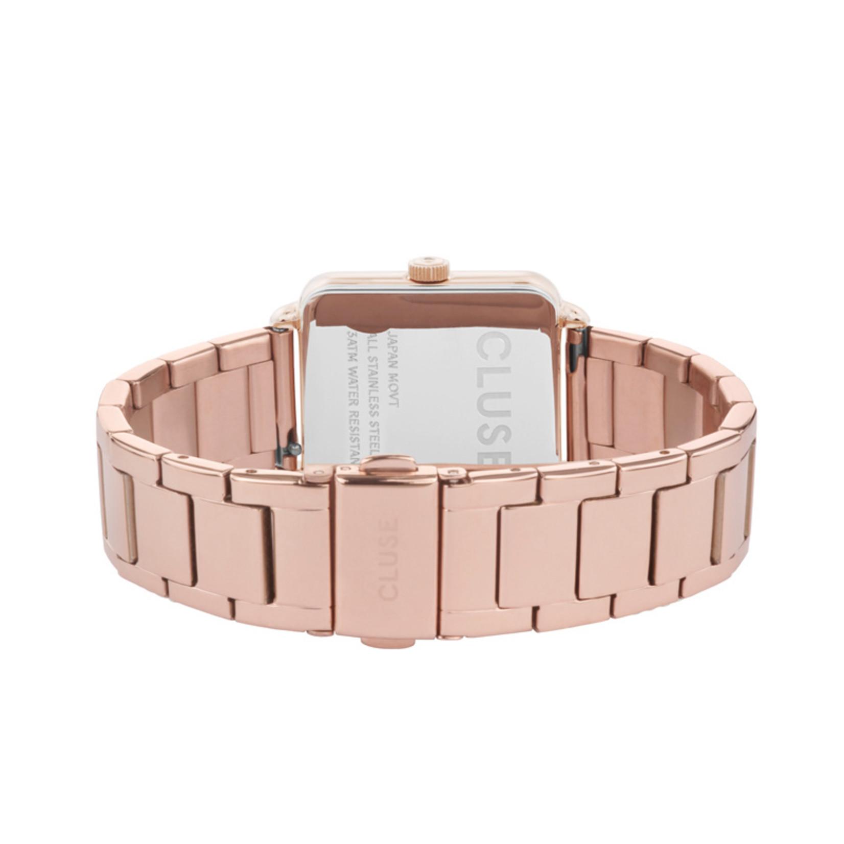 Cluse Cluse Uhr La Tétragone Three Link I roségold-weiß I rechteckig