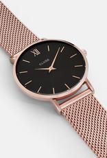 Cluse Cluse Uhr Miniuit roségold-schwarz I Edelstahl roségold