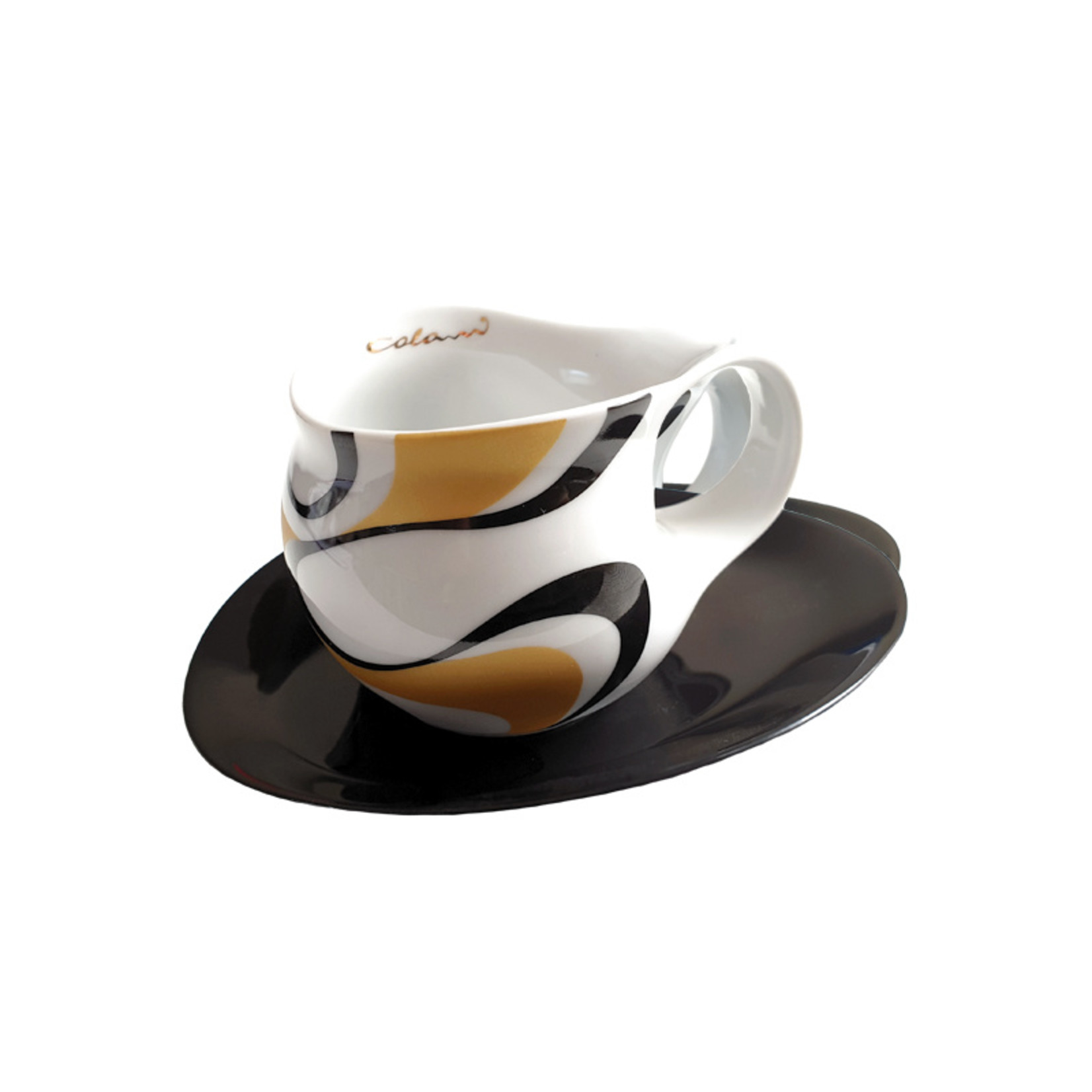 Colani Porzellanserie Colani Espressotasse groß | Tasse inkl. Unterteller | gold-schwarz
