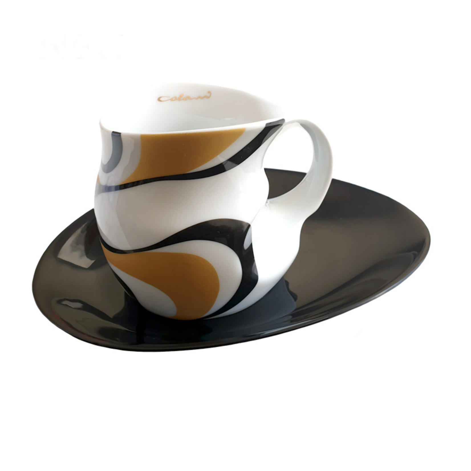 Colani Porzellanserie Colani Kaffee-/Cappuccinotasse I gold-schwarz I Porzellan