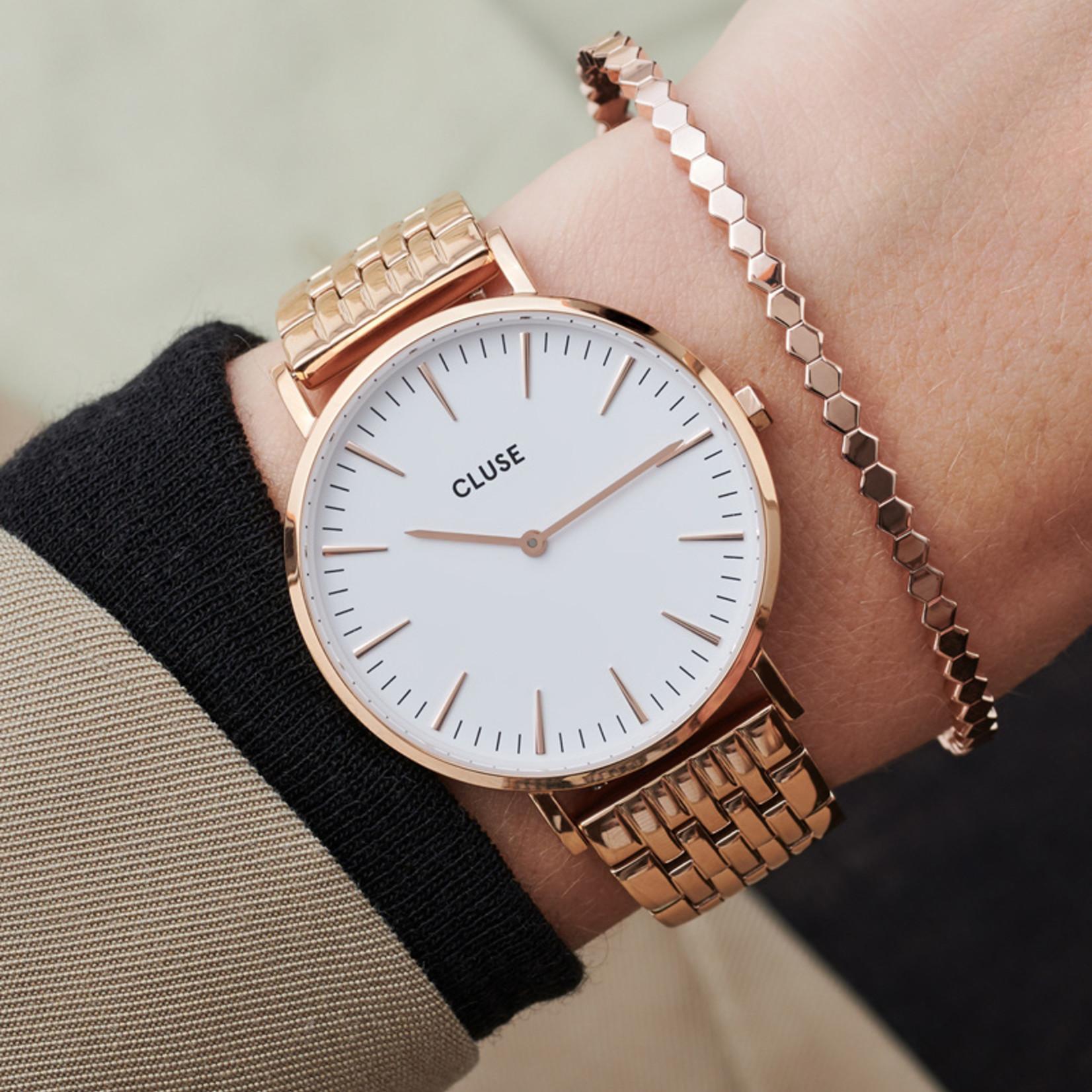 Cluse Cluse Uhr La Bohème roségold-weiß I Multi-Link roségold