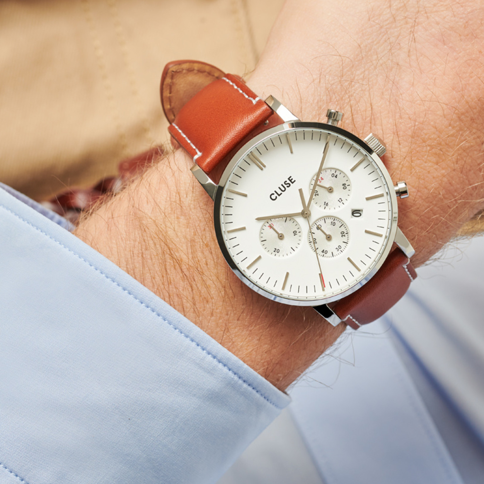Cluse Cluse Uhr Aravis hellbraun-weiß I Chronograph I Leder