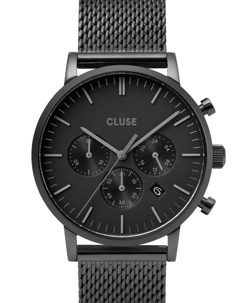Cluse Cluse Uhr Aravis schwarz I Chronograph I Mesh Edelstahl