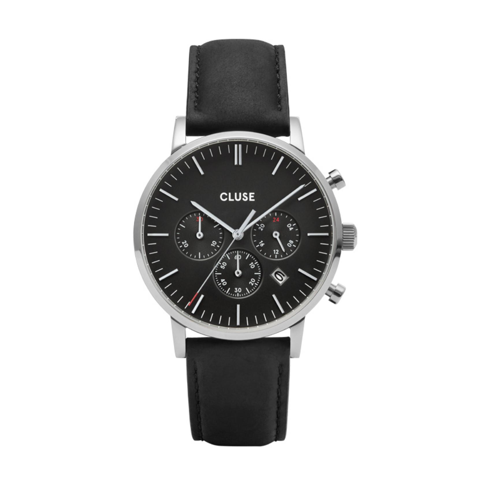 Cluse Cluse Uhr Aravis schwarz I Chronograph I Leder schwarz