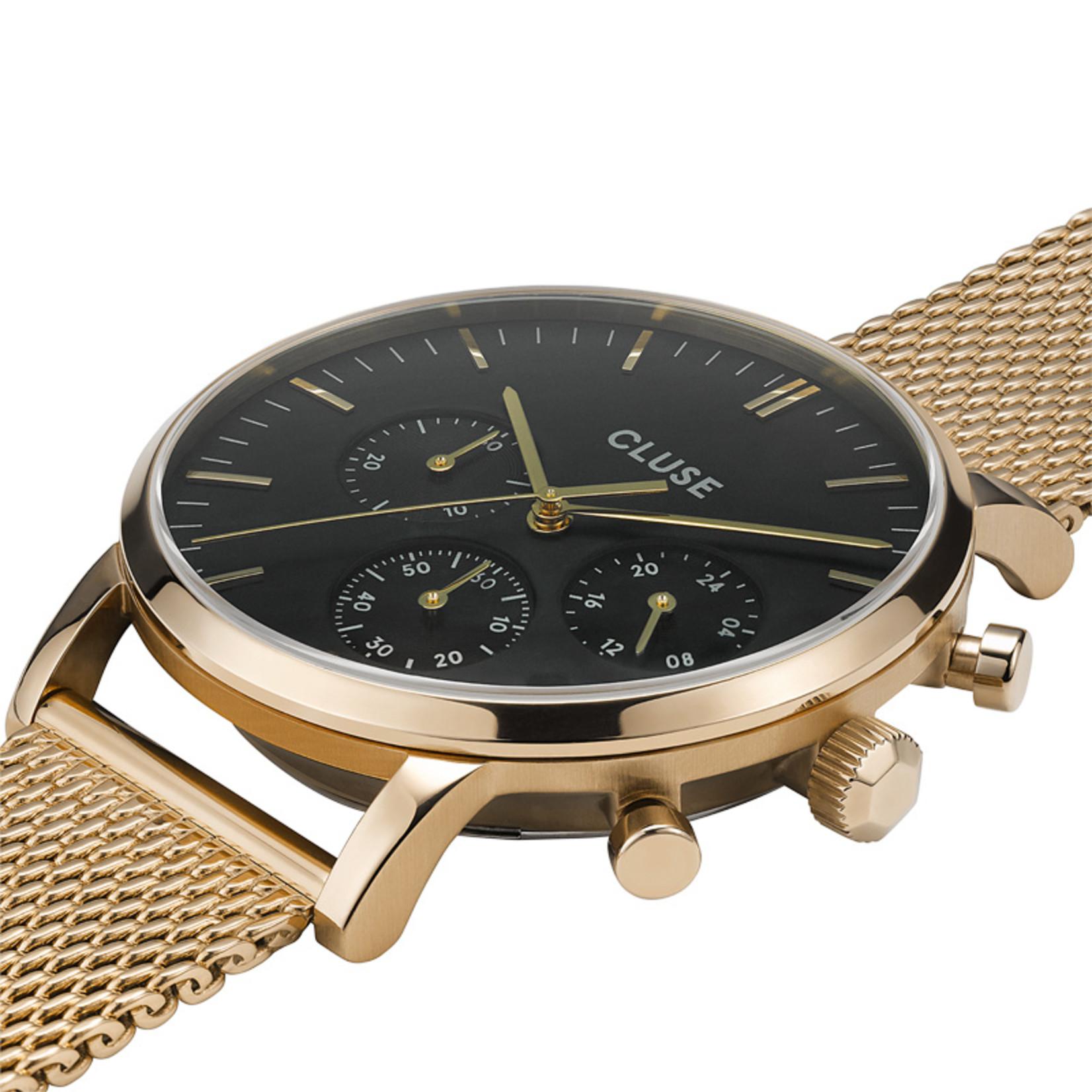 Cluse Cluse Uhr Aravis gold-schwarz I Chronograph I Mesh Edelstahl