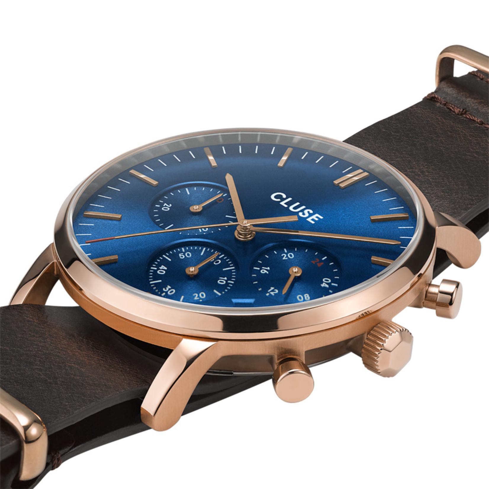 Cluse Cluse Uhr Aravis dunkelbraun-blau I Chronograph I NATO Leder