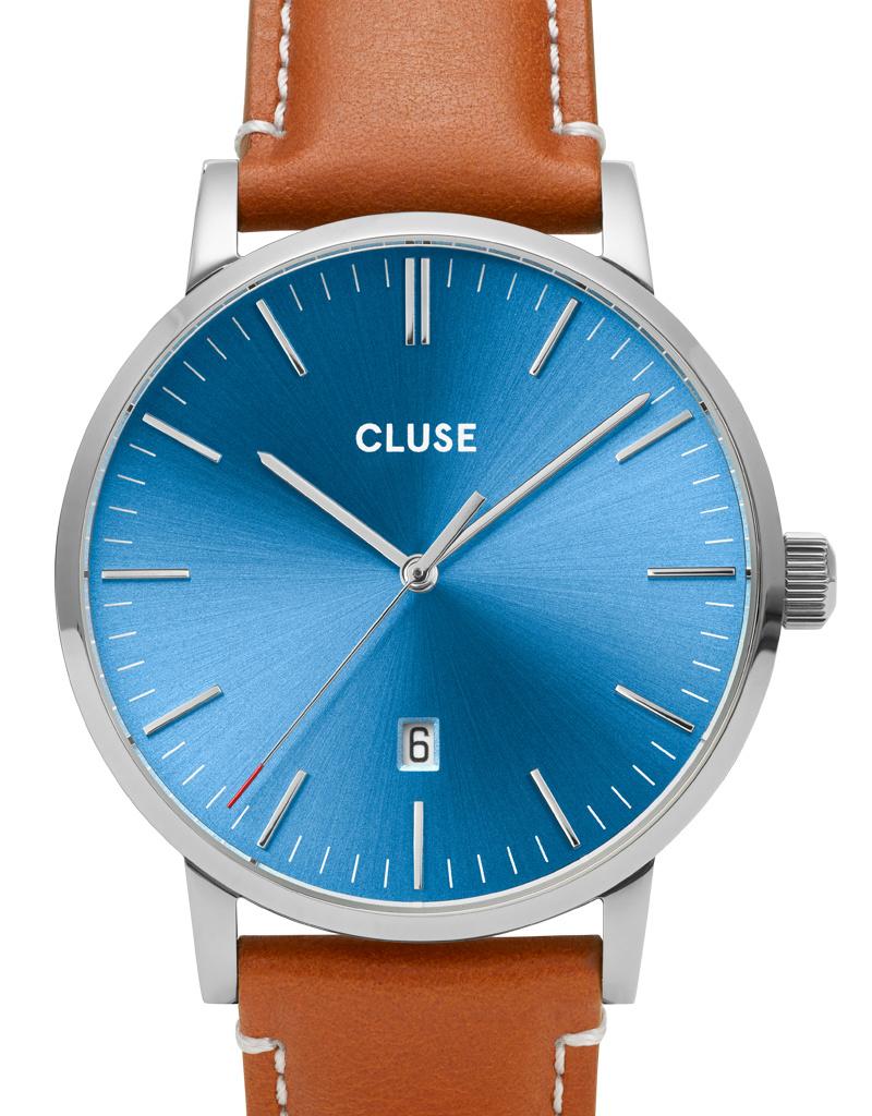 Cluse Cluse Uhr Aravis hellbraun-blau I Leder hellbraun I Herrenuhr