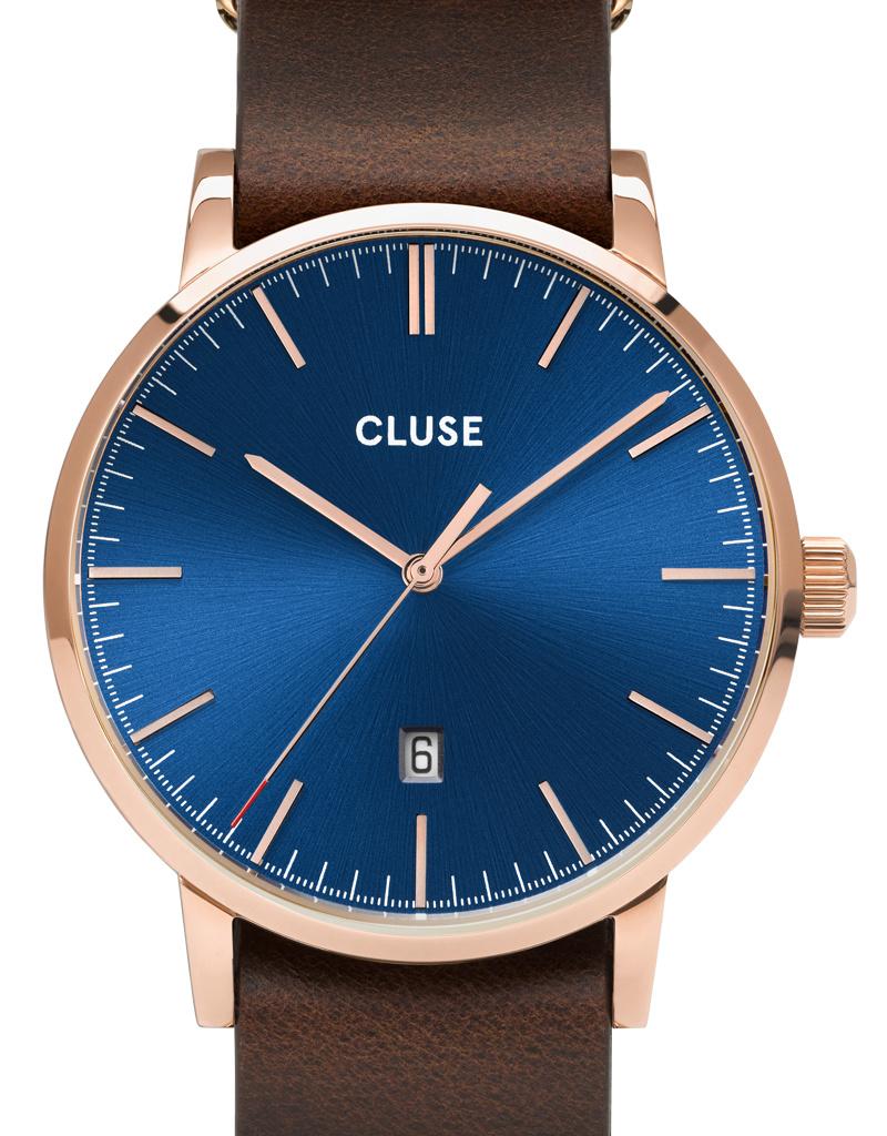 Cluse Cluse Uhr Aravis dunkelbraun-dunkelblau I Leder dunkelbraun I NATO-Armband