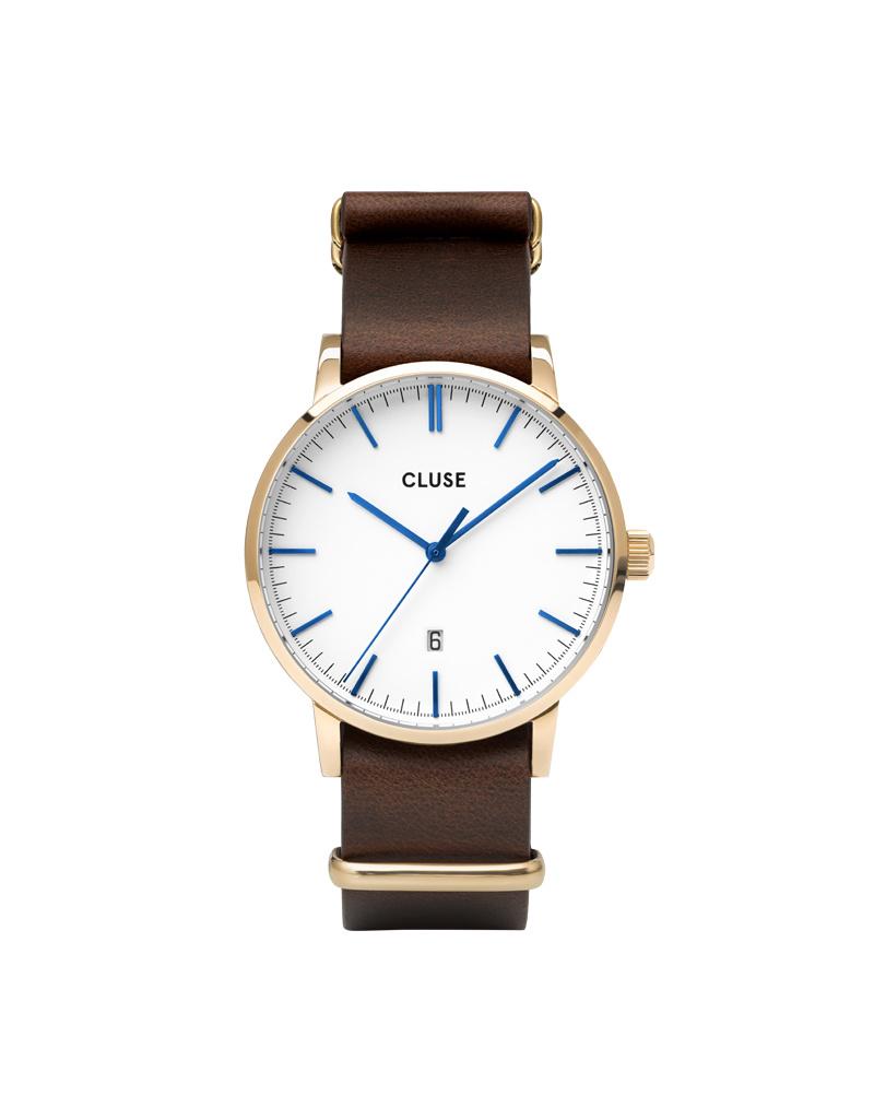 Cluse Cluse Uhr Aravis dunkelbraun-weiß I Leder I NATO-Armband