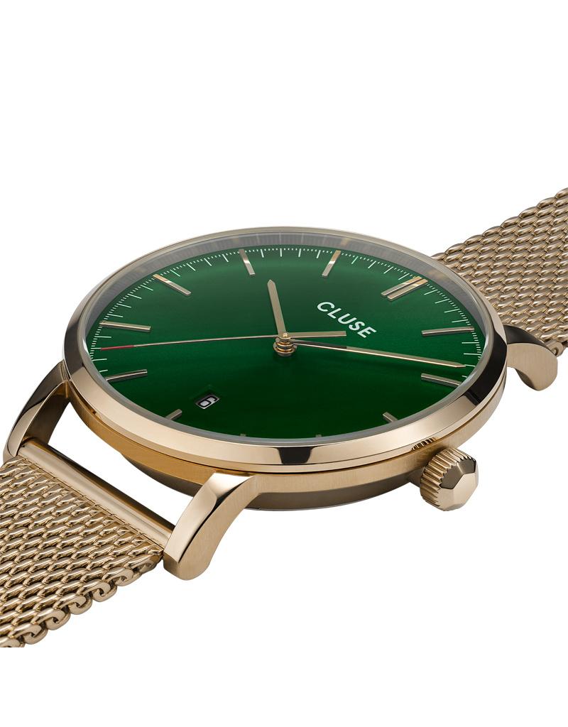 Cluse Cluse Uhr Aravis gold-grün I Mesh Edelstahl I Herrenuhr