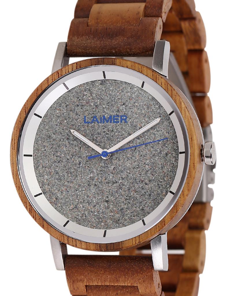 Laimer Holzuhren Laimer Holzuhr Ludwig 42 mm I Uhr Teakholz  I Granit, silber