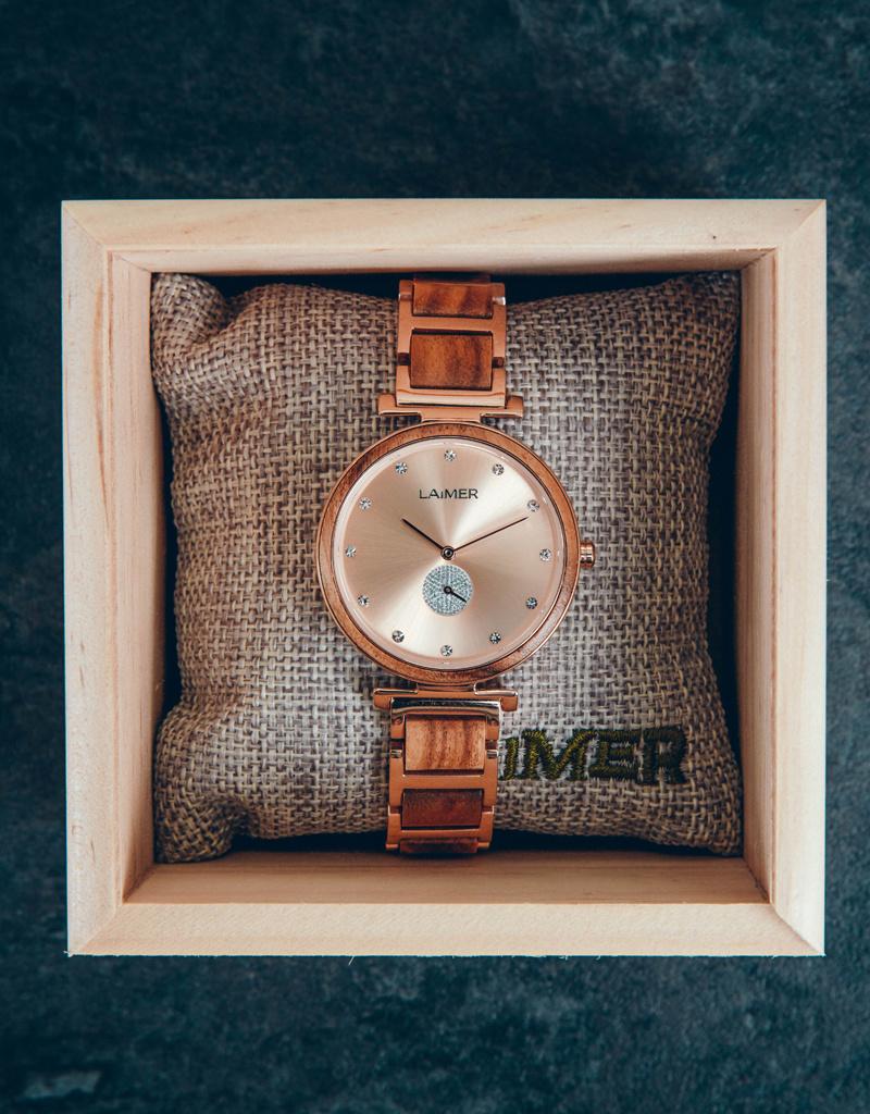 Laimer Holzuhren Laimer Holzuhr Mia 36 mm I Laimer Uhr I Akazienholz
