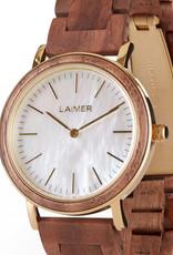 Laimer Holzuhren Laimer Holzuhr Lara 36 mm I Laimer Uhr I Wallnussholz Gold