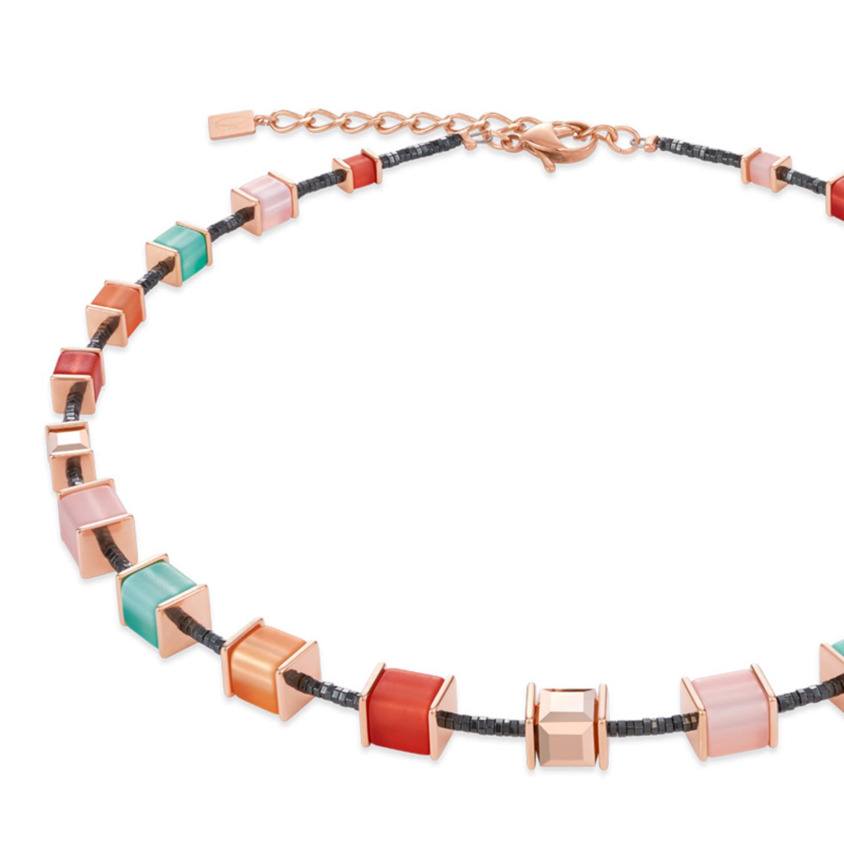 Coeur de Lion Schmuck Collier 4945/10-0231 I koralle-mintgrün I GeoCUBE® Würfel