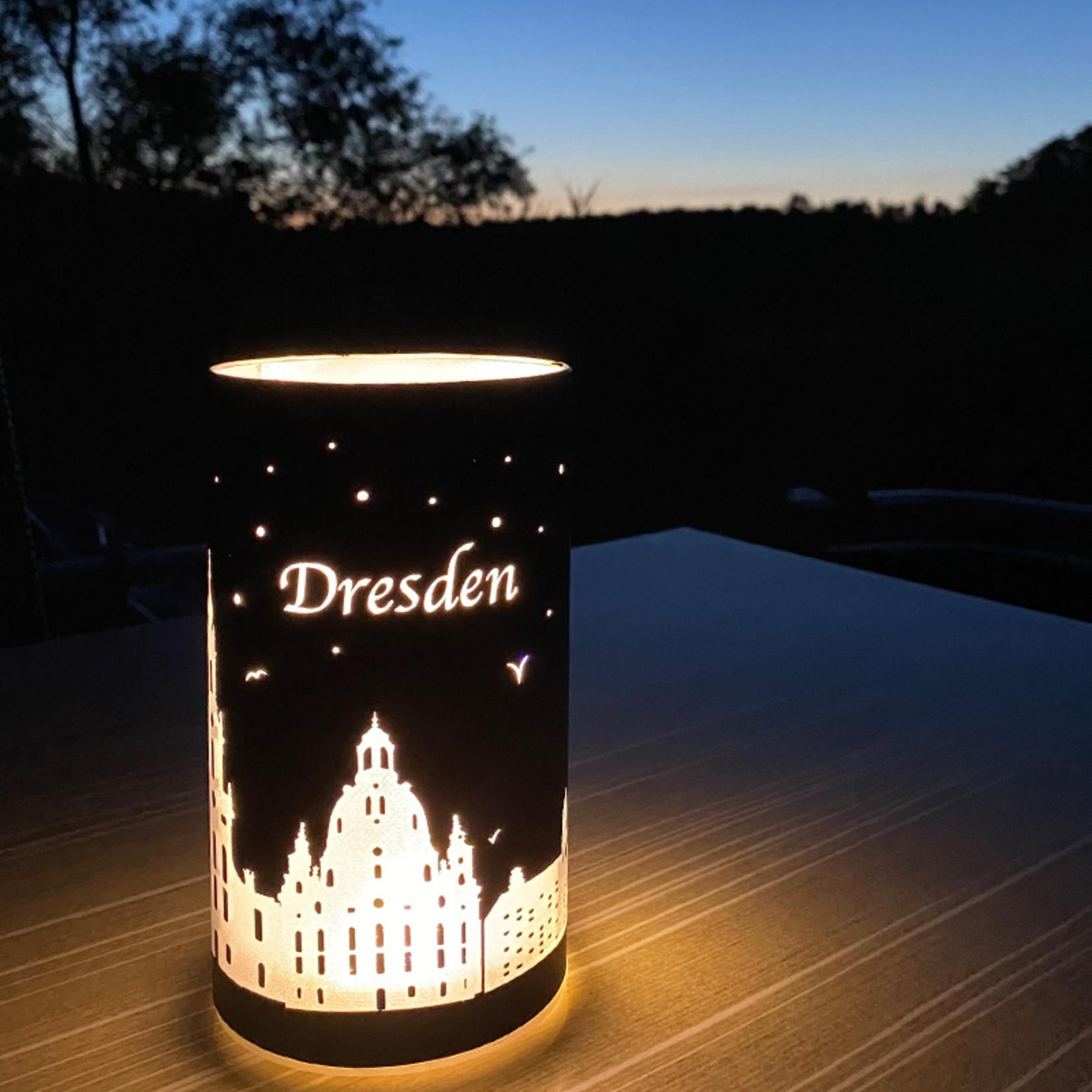 "LED Windlicht ""Dresden""   schwarz-silber   LED 6h- Timer"