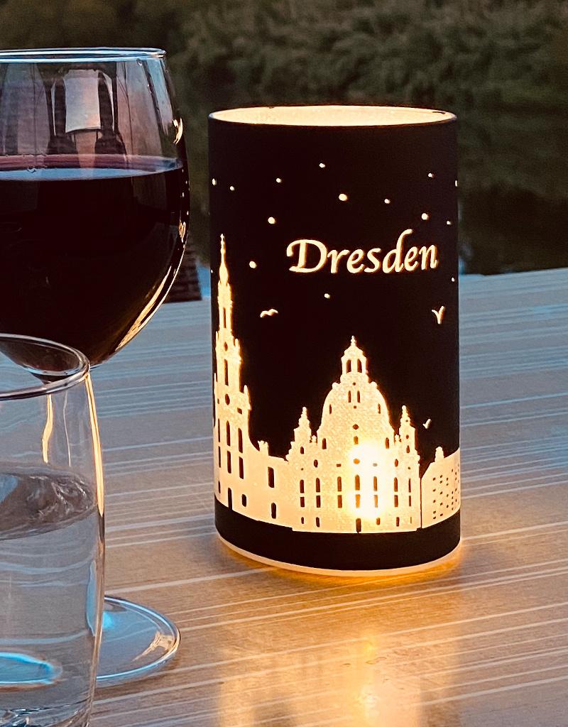 "LED Windlicht ""Dresden"" I schwarz-silber I LED 6h- Timer"