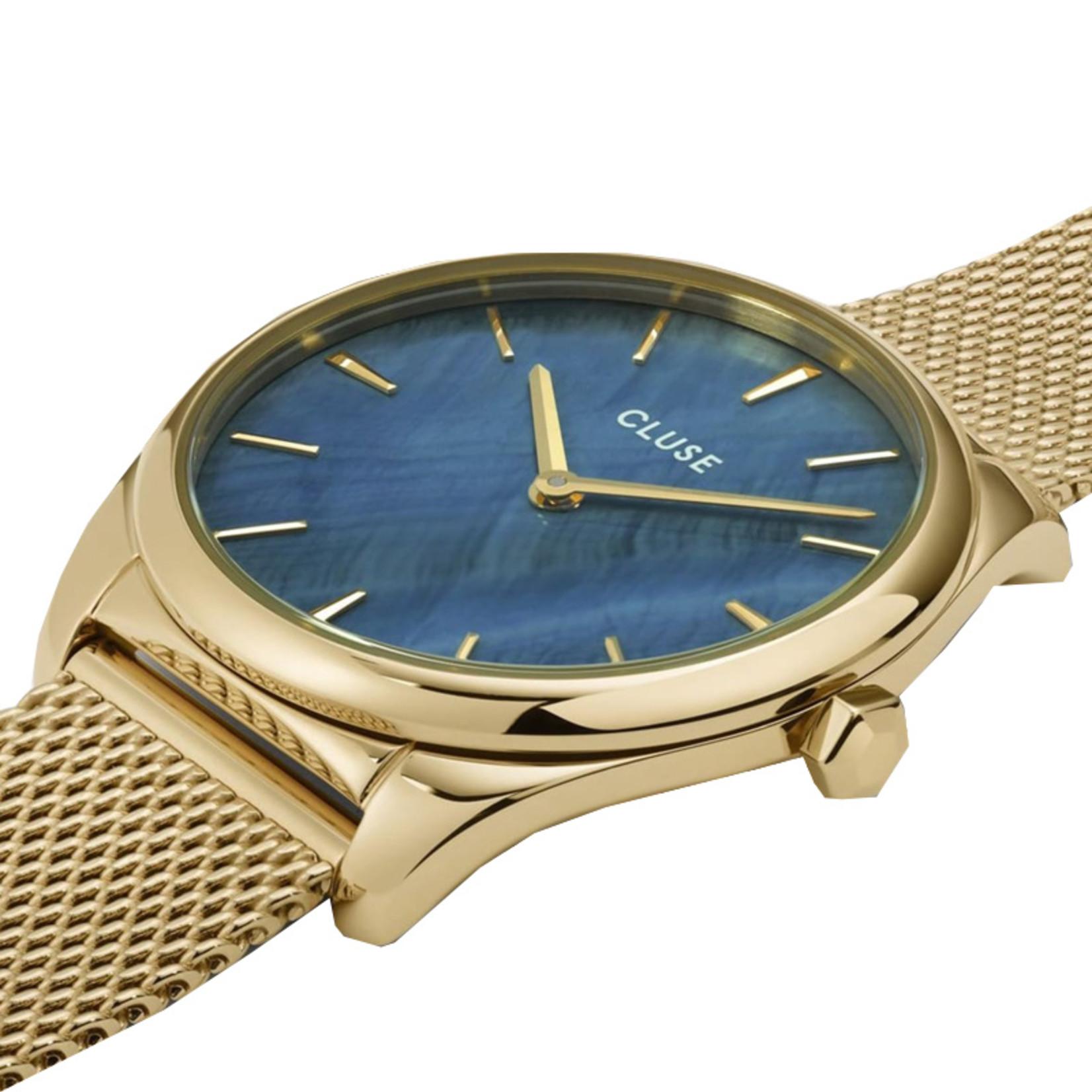 Cluse Cluse Uhr Féroce Petite by Iris Mittenaere I Edelstahl I gold-blau