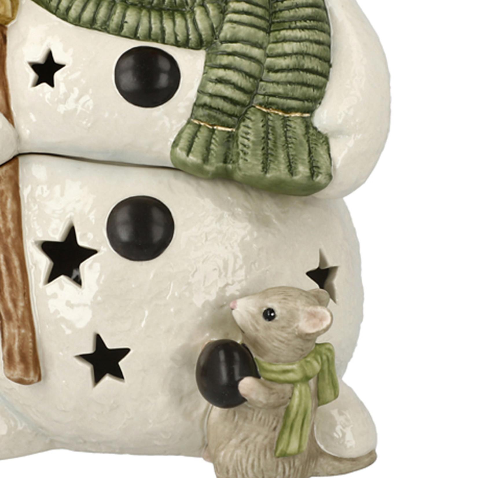Goebel Porzellanmanufaktur Schneemann  mit LED Teelicht I Kleiner Helfer I Goebel