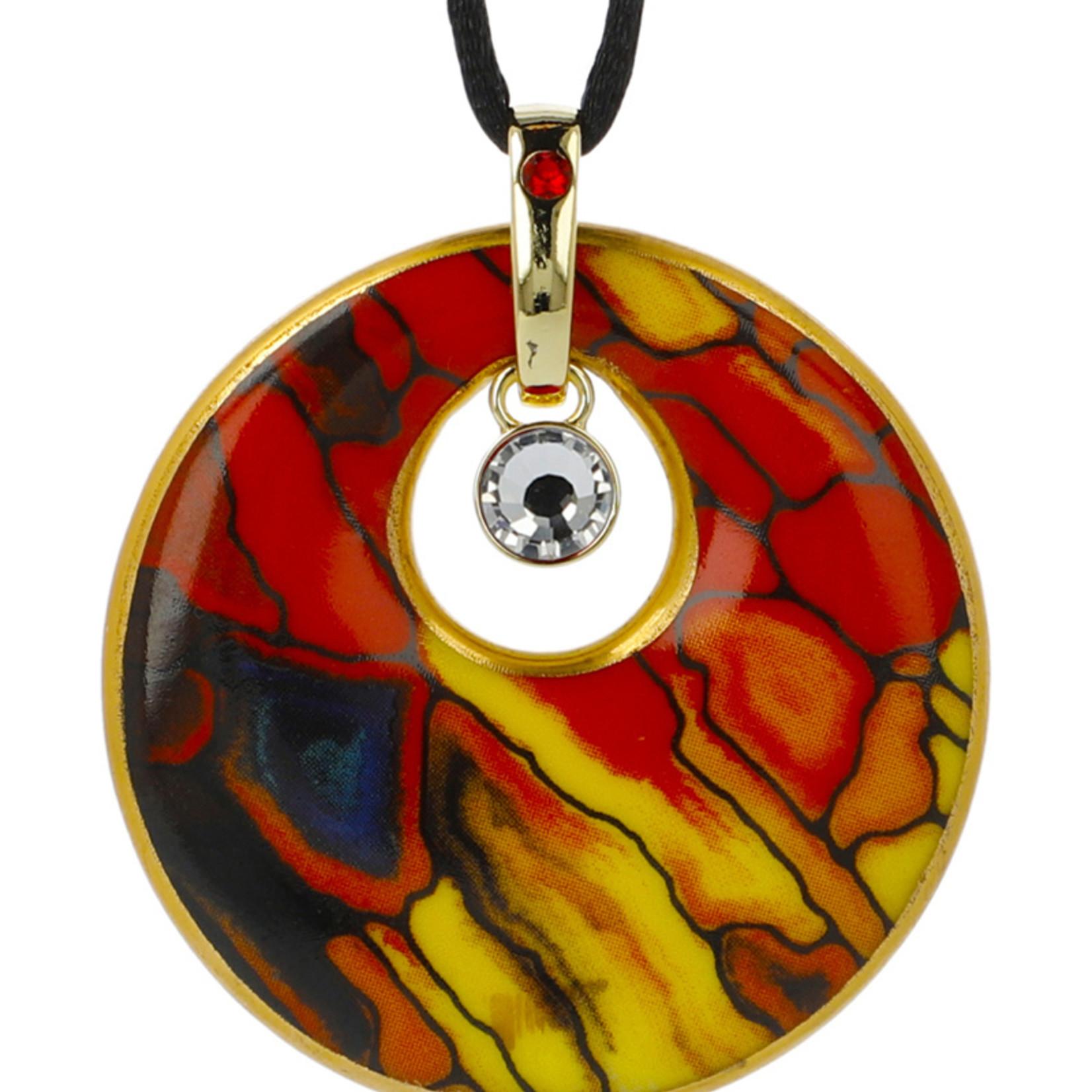 Goebel Porzellanmanufaktur Kette Mosaik III I Goebel I Künstlerkette I rot-gelb-blau