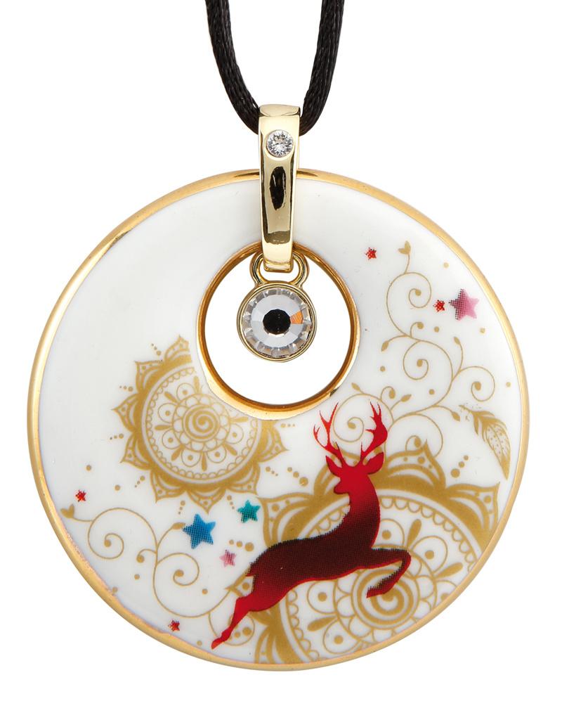 Goebel Porzellanmanufaktur Kette Mandala I Goebel I Künstlerkette I weiß-rot