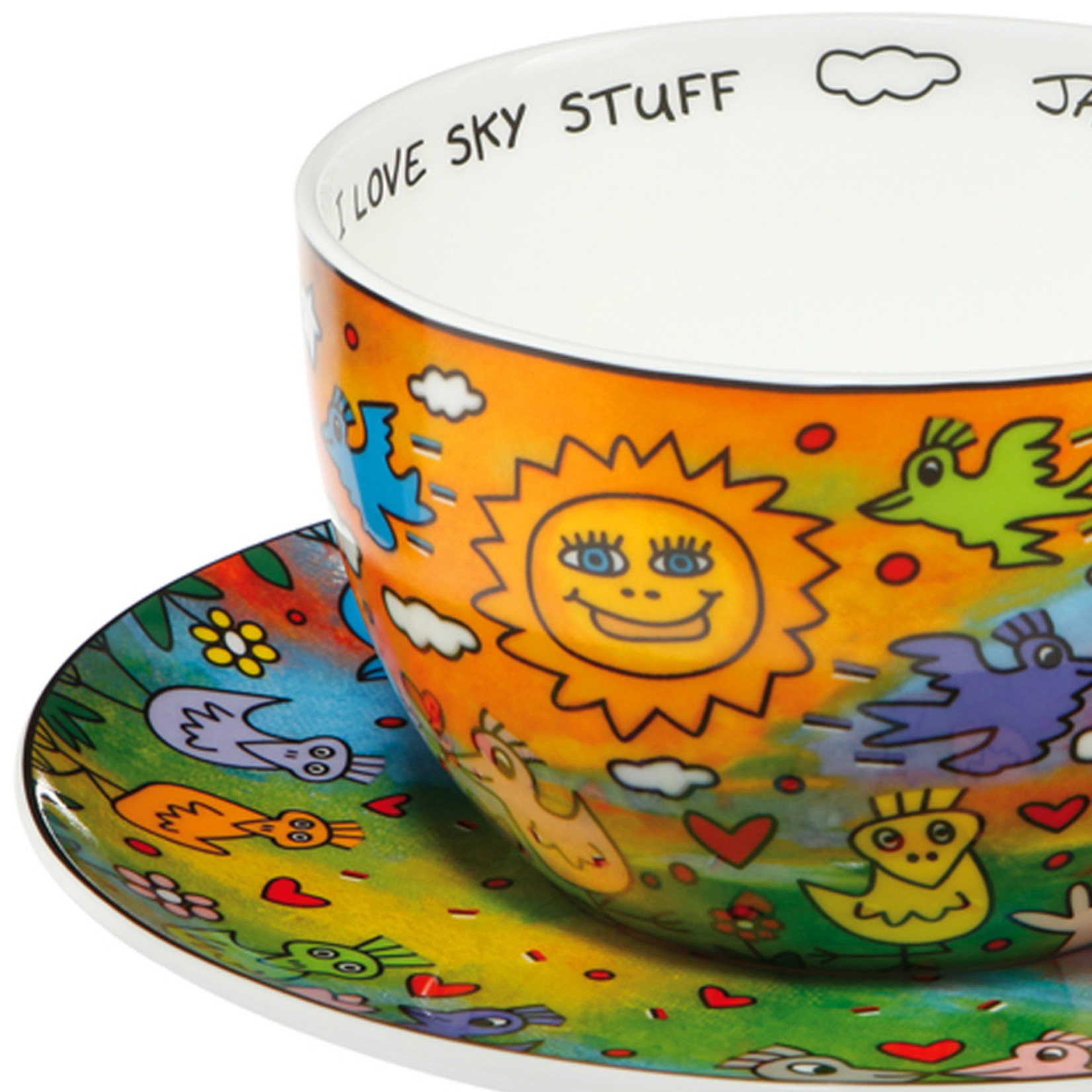 Goebel Porzellanmanufaktur Tasse mit Unterteller   Love Sky Stuff   James Rizzi   Goebel