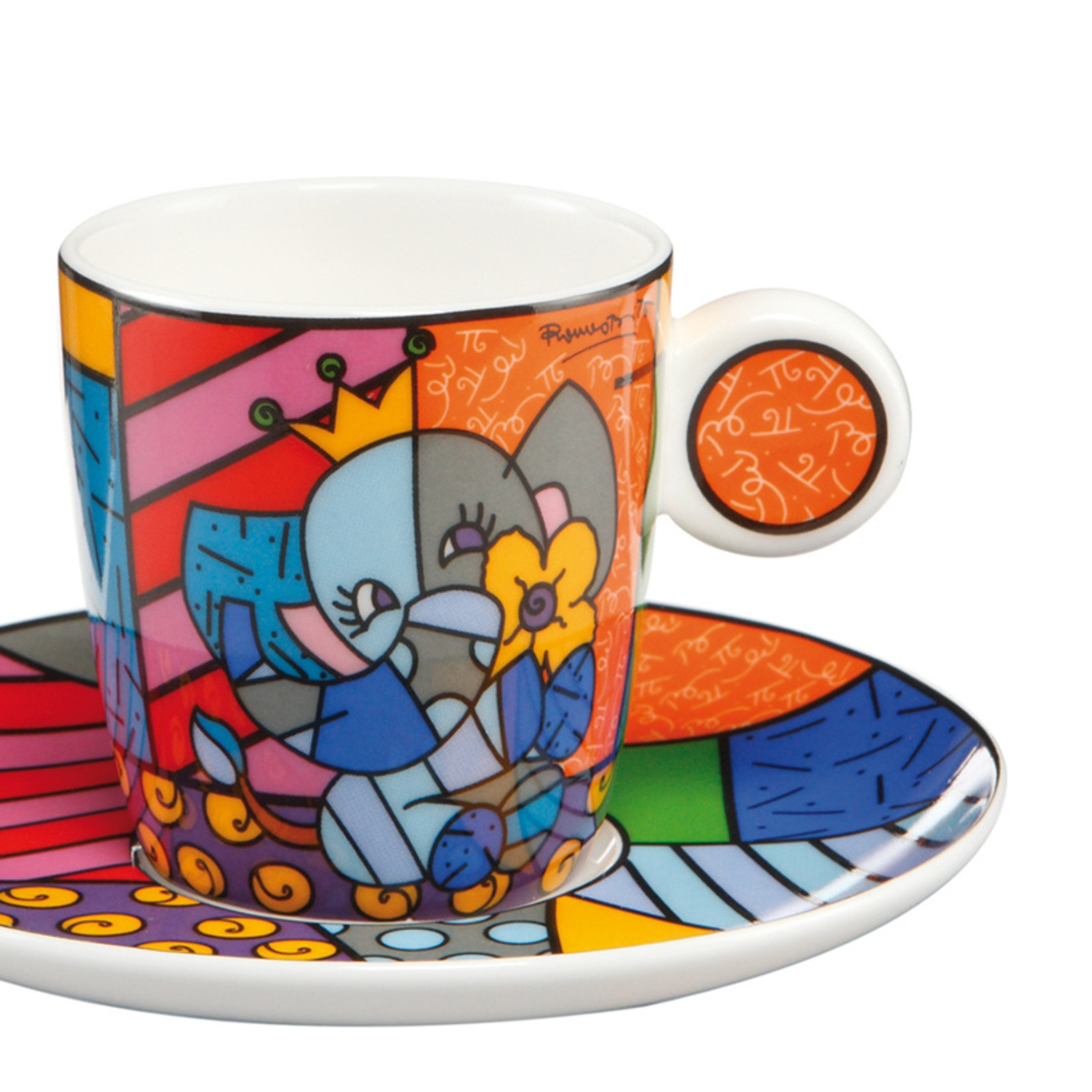 Goebel Porzellanmanufaktur Espressotasse Spring Elephant   Romero Britto   Goebel Porzellan
