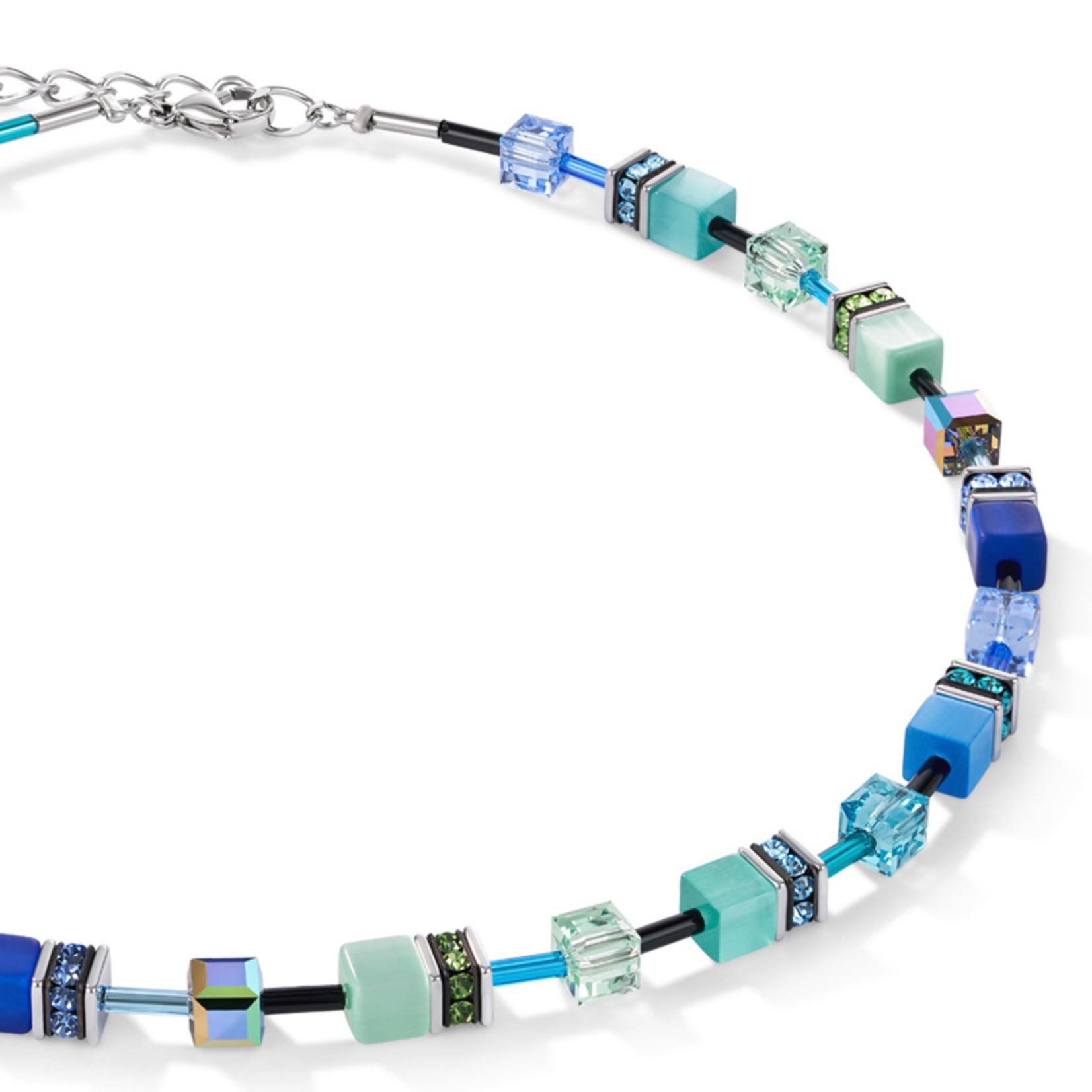 Coeur de Lion Schmuck Collier 2838/10-0705 | blau-grün | GeoCUBE® Würfel