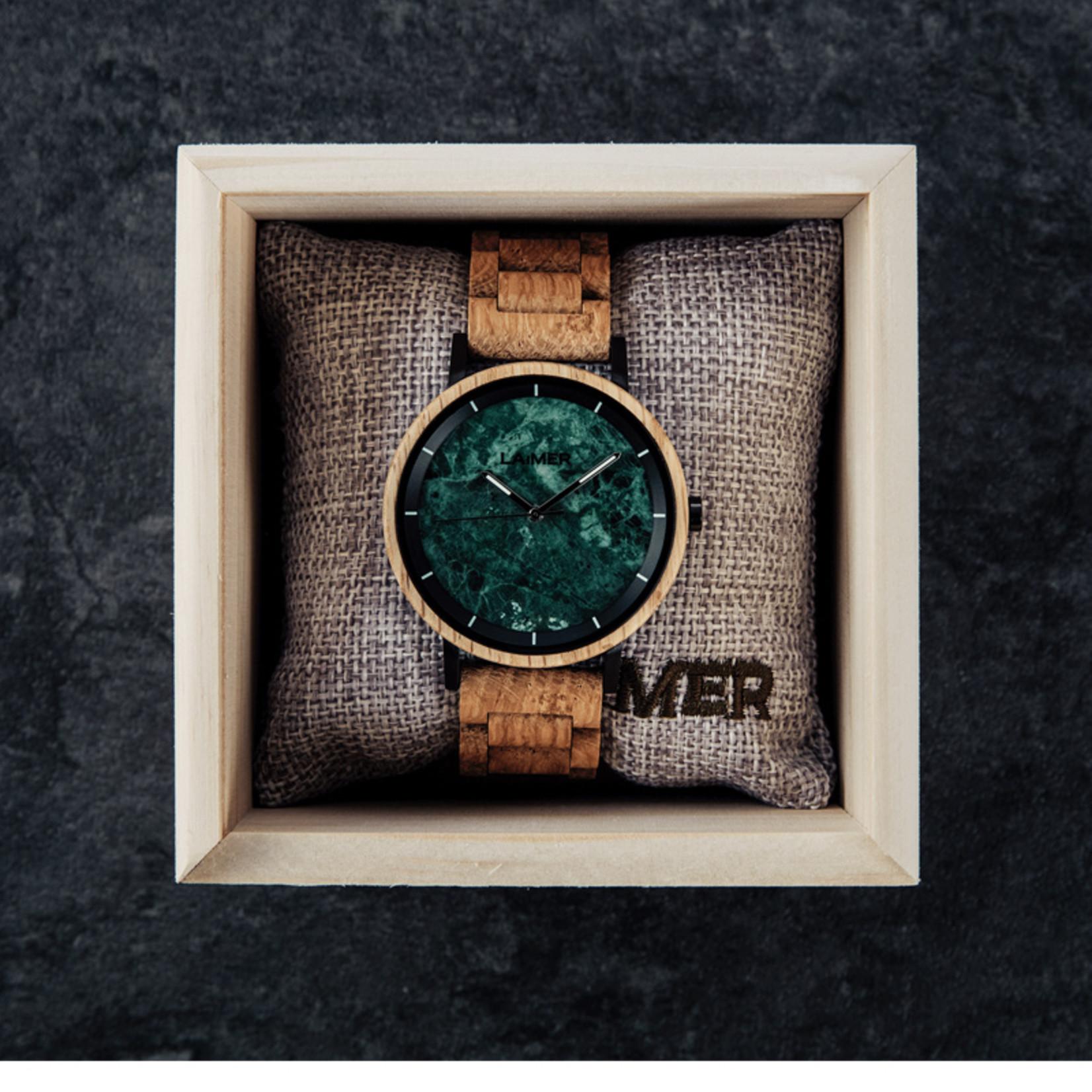 Laimer Holzuhren Laimer Holzuhr Liam 42 mm   Uhr Eichenholz   Granit dunkelgrün