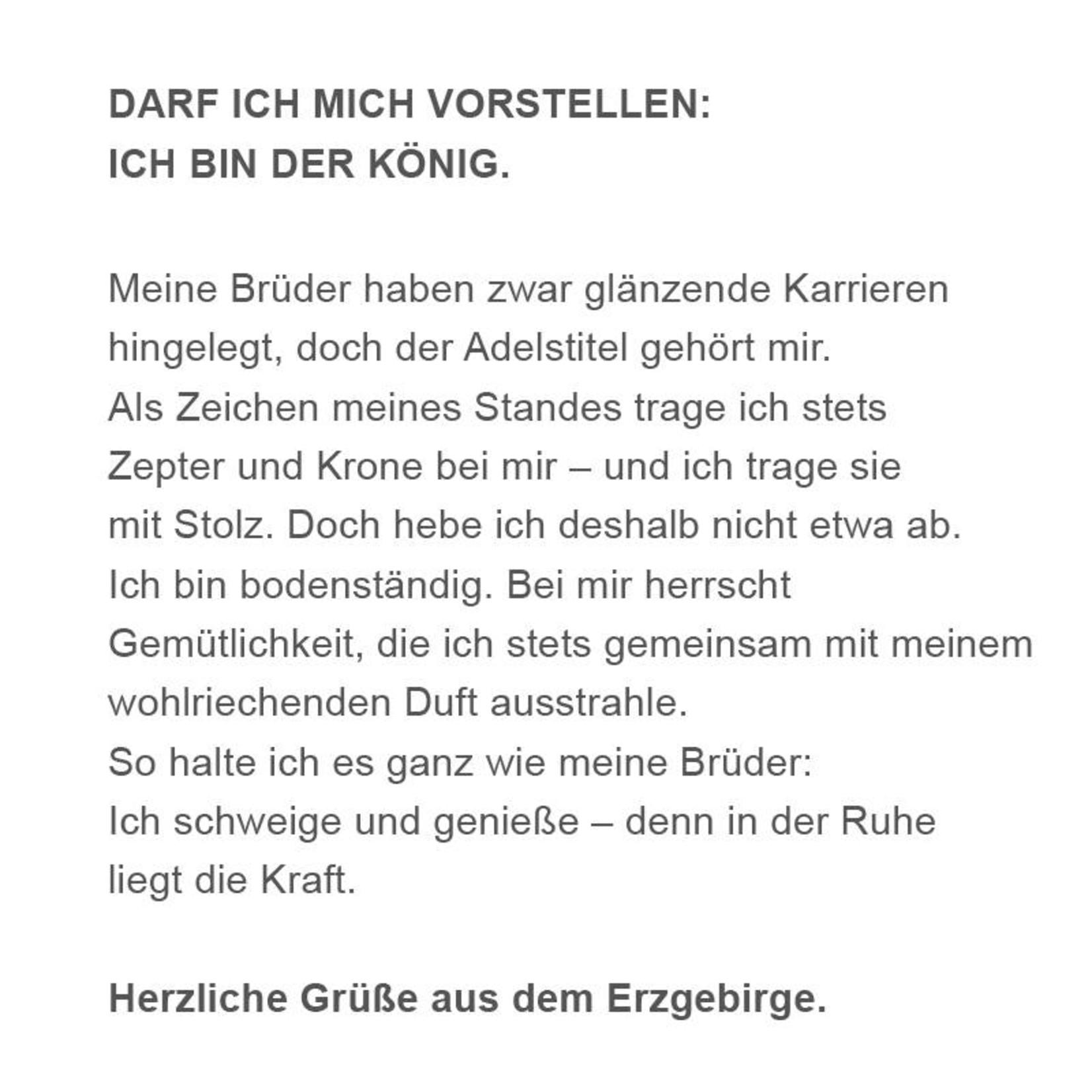 "Adamas Brass Räuchermann ""Der König"" I Edelstahl I Erzgebirge"