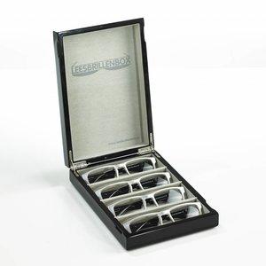 Boîte de lunettes de lecture en vernis brillant noir