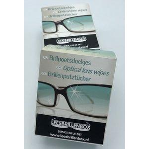 Leesbrillenbox hygiënische brilpoetsdoekjes