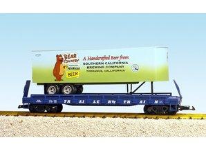 USA TRAINS Piggyback Flatcar Bear Country Beer mit Trailer