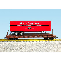 Piggyback Flatcar Burlington Route mit Trailer