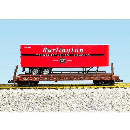 USA TRAINS Piggyback Flatcar Burlington Route mit Trailer