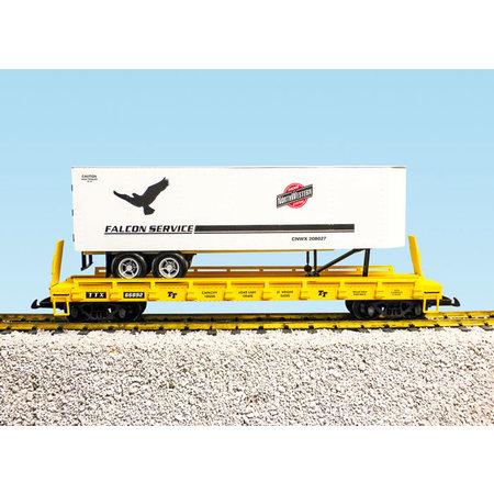 USA TRAINS Piggyback Flatcar C&NW Falcon Service mit Trailer