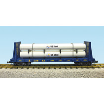 Pipe Load Flat Car Alaska Railroad beladen mit Rohren