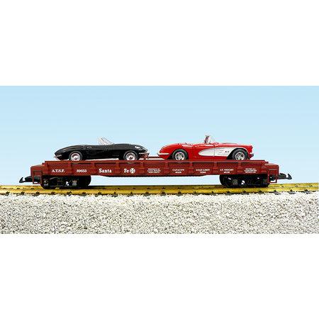USA TRAINS Auto Flatcar ATSF beladen mit 2 Autos