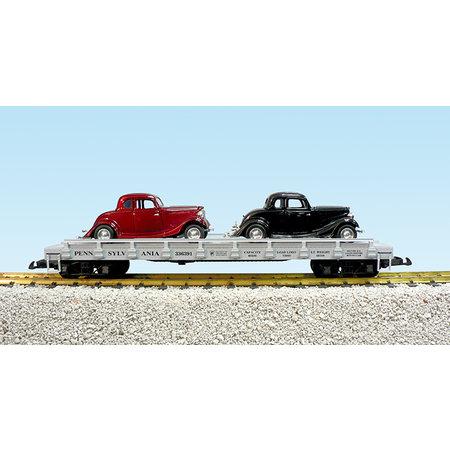 USA TRAINS Auto Flatcar Pennsylvania beladen mit 2 Autos
