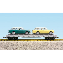 Auto Flatcar Rio Grande beladen mit 2 Autos
