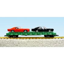 Auto Flatcar Burlington Northern beladen mit 2 Autos