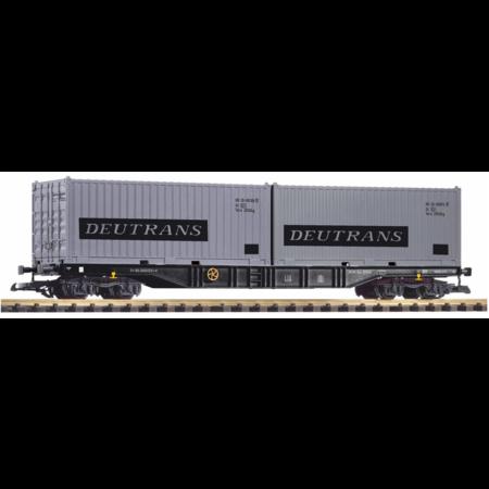 """PIKO G Containertragwagen mit 2 Containern """"Deutrans"""""""