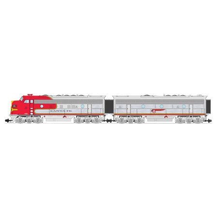 USA TRAINS F7 AB Santa Fe (2 komplette Loks) Farbe: Warbonnet Chrome