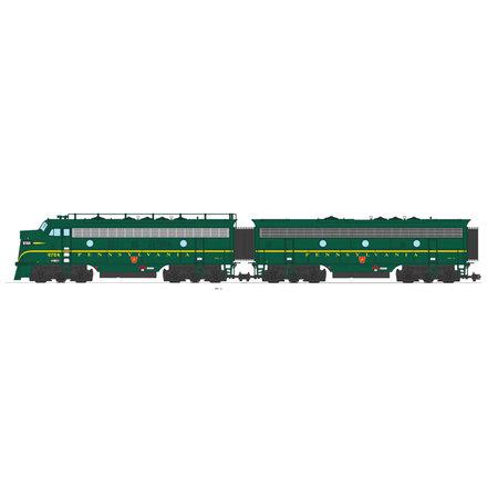 USA TRAINS F7 AB Pennsylvania (2 komplette Loks) Farbe: Brunswick grün