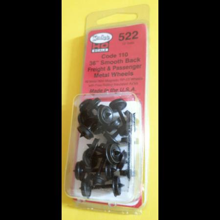 Kadee Spur H0 Kadee Nr.522 36'Smooth Back Metallradsätze für Personenwagen12 Stück
