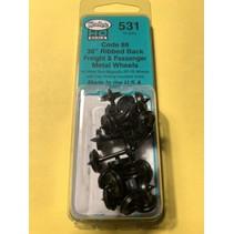 "531 Spur H0 36"" Ribbed Code 88 Semi Scale Metallradsätze 12 Stück"