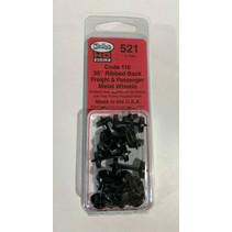 "Spur H0 Kadee Nr.521 36"" Diameter Ribbed Back Metal Code 110 (12 Stück)"