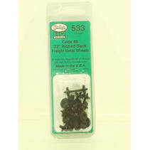 "#533 Spur H0 33"" Ribbed Code 88 Semi Scale Metallradsätze 12 Stück"