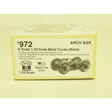 Kadee Spur G Kadee 972 Arch Bar Metall Roller Bearing Trucks with 33 in. ribbed back