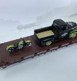 LGB Flatcar PRR beladen mit Harley Davidson Pickup und Motorrad (sehr guter Zustand)