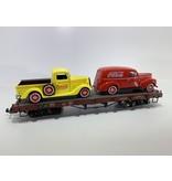 Bachmann Trains Flachwagen mit 2 Coca Cola Autos beladen